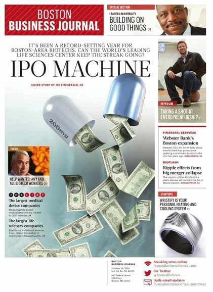 Boston Business Journal Cover - 10/24/2014