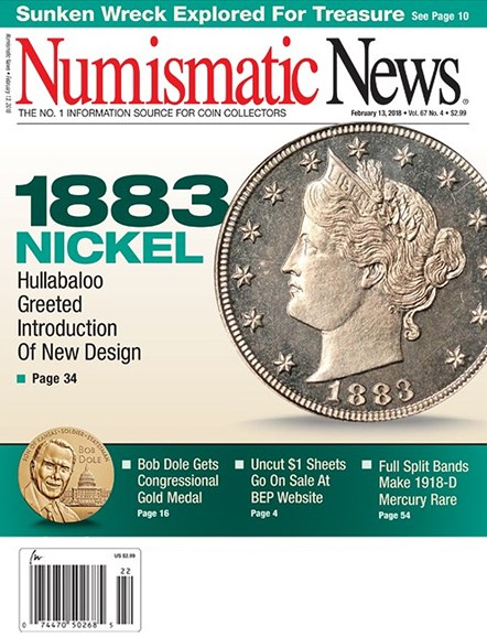 Numismatic News Cover - 2/13/2018