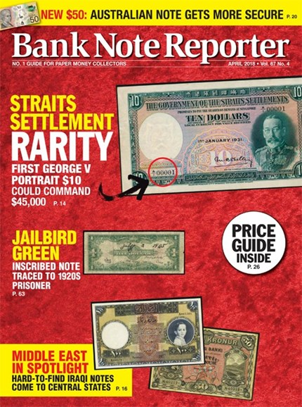 Bank Note Reporter Cover - 4/1/2018