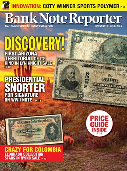 Bank Note Reporter Cover - 3/1/2018