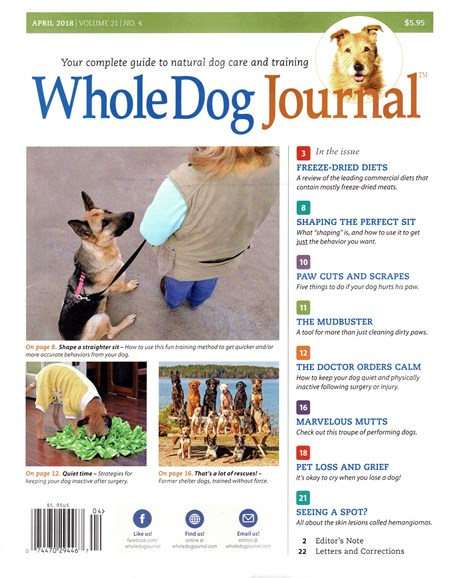 Whole Dog Journal Cover - 4/1/2018