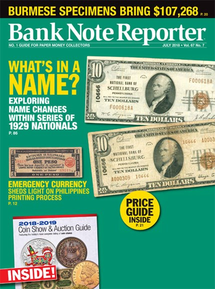 Bank Note Reporter Cover - 7/1/2018