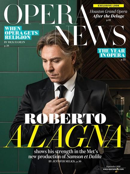Opera News Cover - 9/1/2018