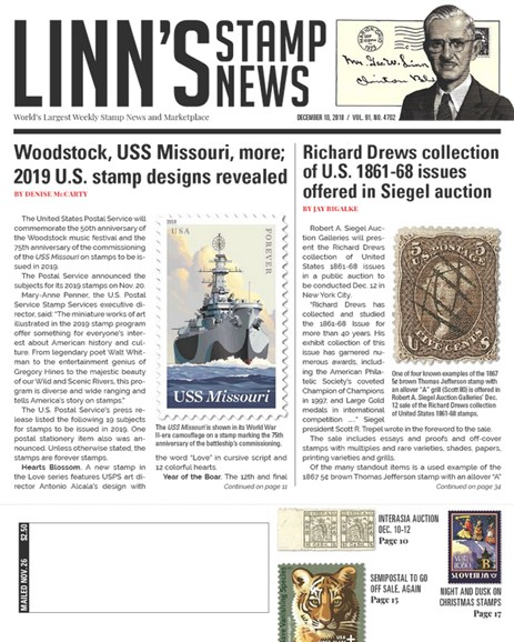 Linn's Stamp News Weekly Cover - 12/10/2018