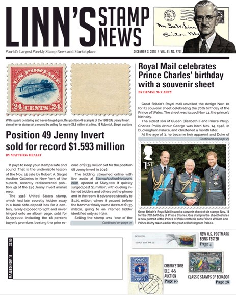 Linn's Stamp News Weekly Cover - 12/3/2018
