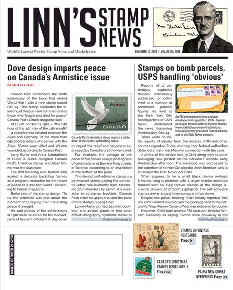 Linn's Stamp News Weekly Cover - 11/12/2018
