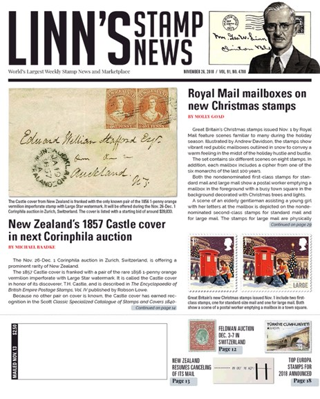 Linn's Stamp News Weekly Cover - 11/26/2018