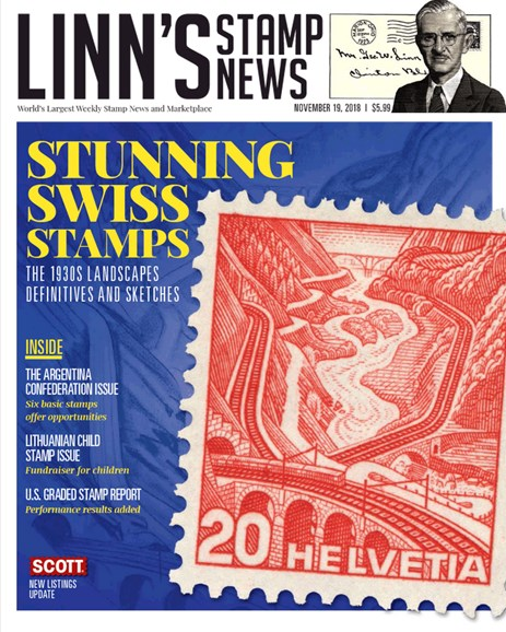 Linn's Stamp News Monthly Cover - 11/19/2018