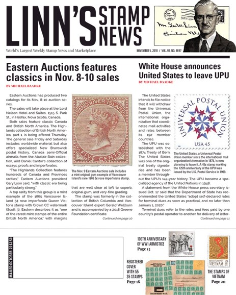 Linn's Stamp News Weekly Cover - 11/5/2018
