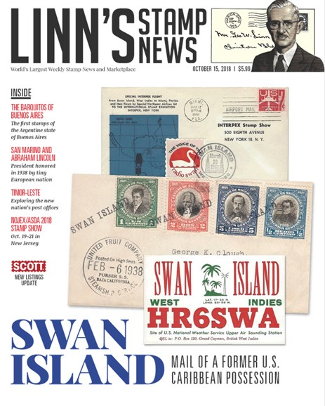 Linn's Stamp News Weekly Cover - 10/15/2018