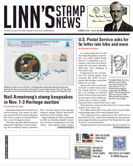 Linn's Stamp News Weekly Cover - 10/29/2018