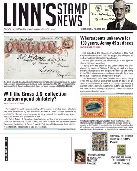 Linn's Stamp News Weekly Cover - 10/1/2018