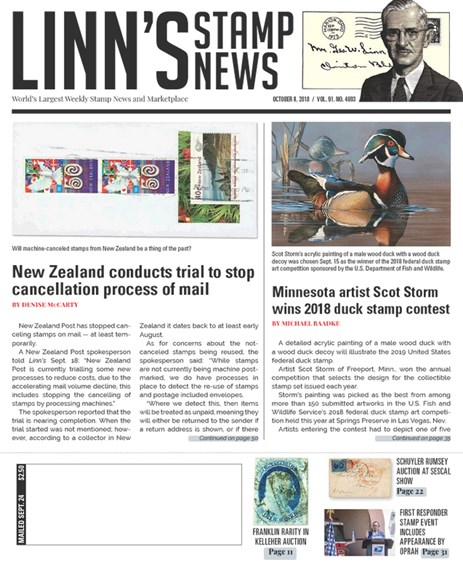 Linn's Stamp News Weekly Cover - 10/8/2018