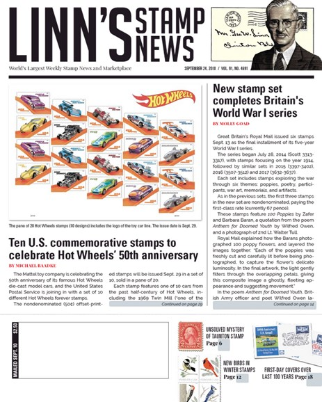 Linn's Stamp News Weekly Cover - 9/24/2018