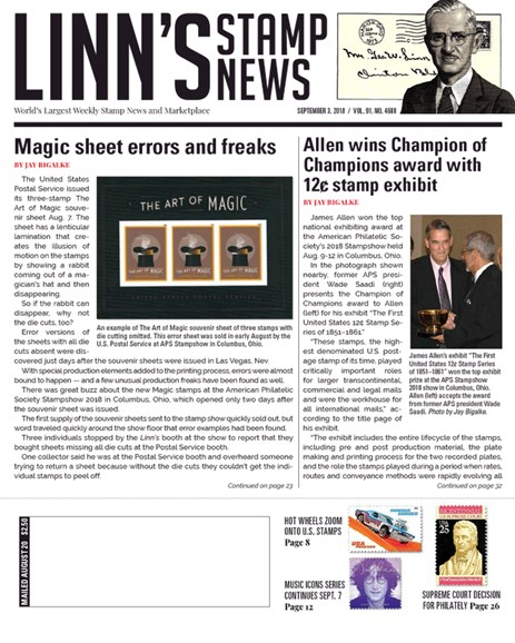 Linn's Stamp News Weekly Cover - 9/3/2018