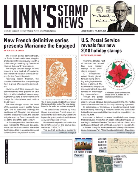 Linn's Stamp News Weekly Cover - 8/13/2018