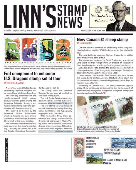 Linn's Stamp News Weekly Cover - 8/6/2018