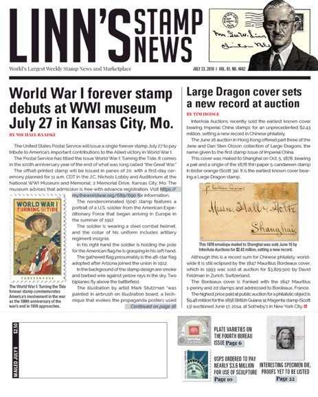 Linn's Stamp News Weekly Cover - 7/23/2018
