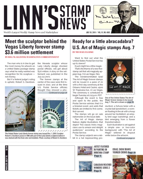 Linn's Stamp News Weekly Cover - 7/30/2018