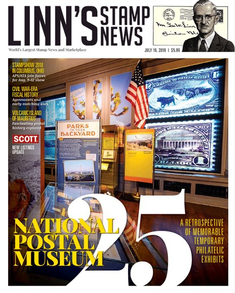 Linn's Stamp News Monthly Cover - 7/16/2018