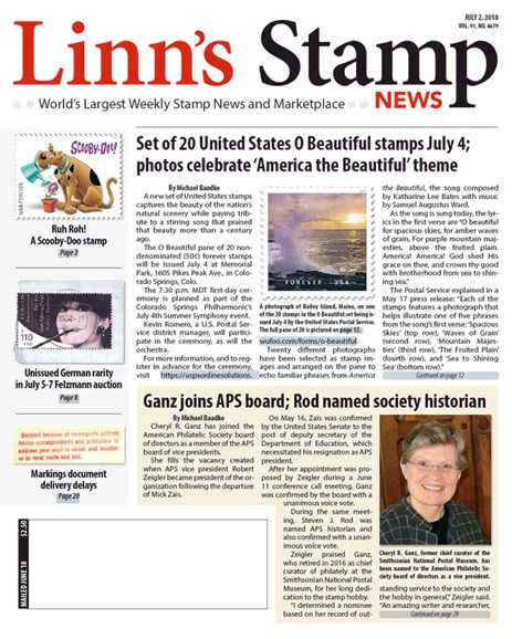 Linn's Stamp News Weekly Cover - 7/2/2018