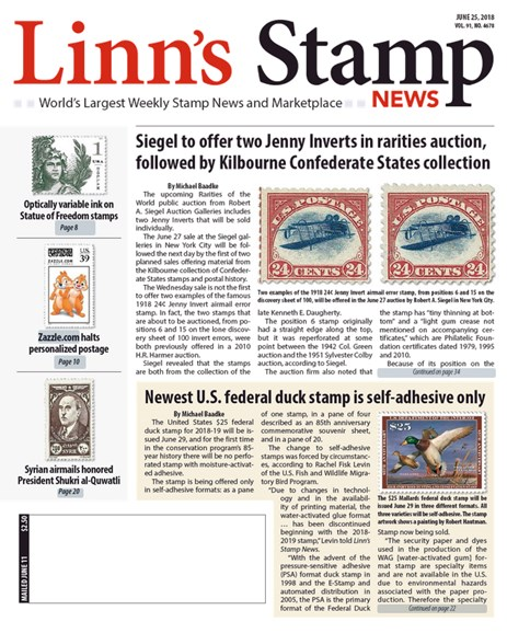 Linn's Stamp News Weekly Cover - 6/25/2018