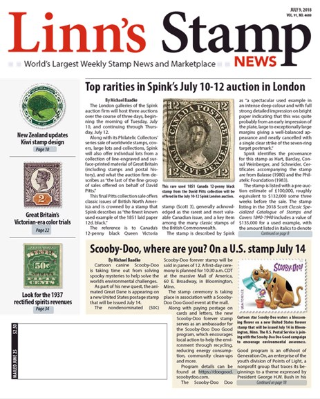 Linn's Stamp News Weekly Cover - 7/9/2018