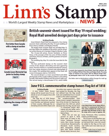 Linn's Stamp News Weekly Cover - 6/4/2018