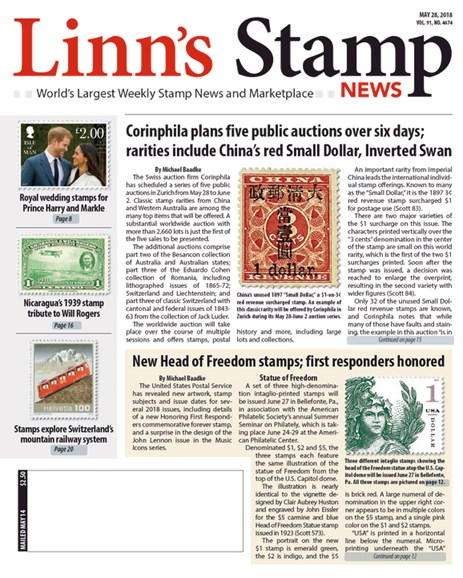 Linn's Stamp News Weekly Cover - 5/28/2018