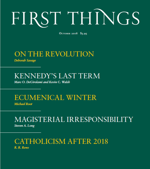 First Things Cover - 10/1/2018