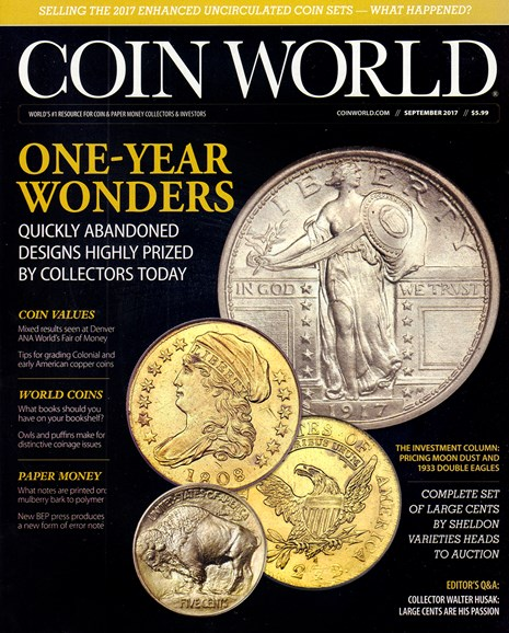 Coin World Weekly Cover - 9/1/2017
