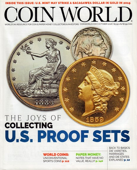 Coin World Monthly Cover - 10/1/2018