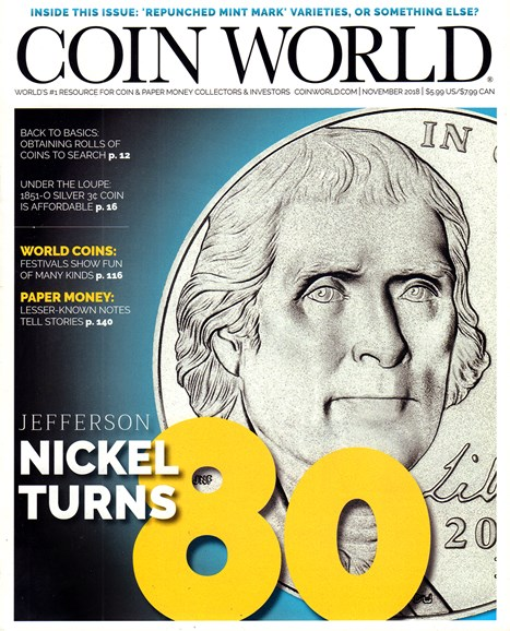 Coin World Monthly Cover - 11/1/2018
