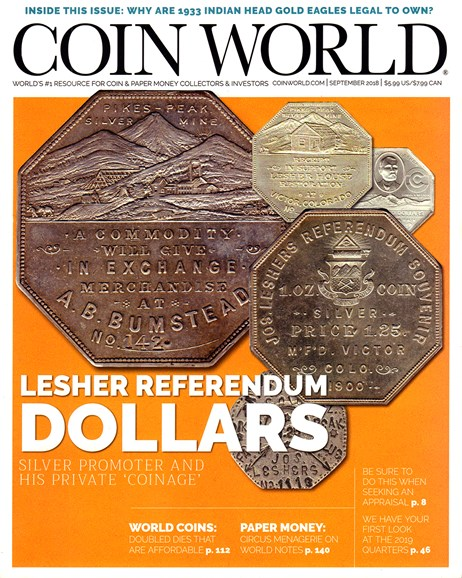 Coin World Weekly Cover - 9/1/2018