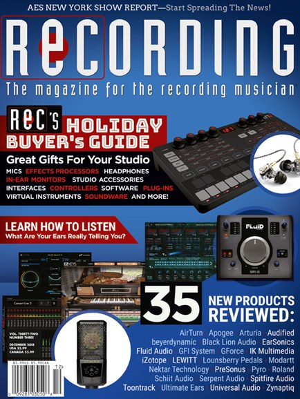 Recording Magazine Cover - 12/1/2018