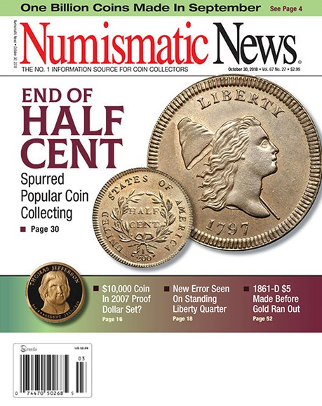 Numismatic News Cover - 10/30/2018