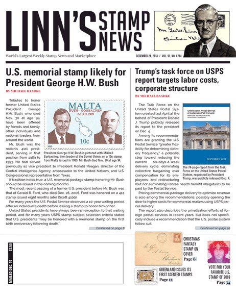Linn's Stamp News Weekly Cover - 12/24/2018