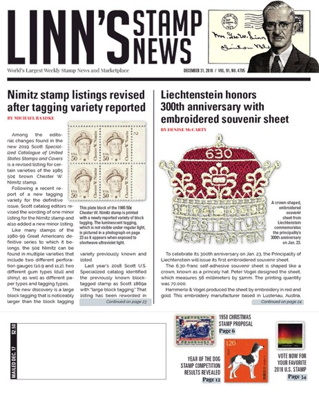 Linn's Stamp News Weekly Cover - 12/31/2018