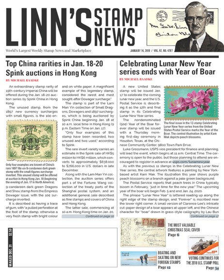 Linn's Stamp News Weekly Cover - 1/14/2019