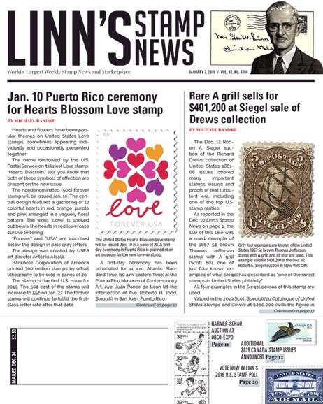 Linn's Stamp News Weekly Cover - 1/7/2019