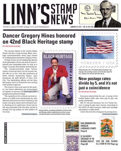 Linn's Stamp News Weekly Cover - 1/28/2019