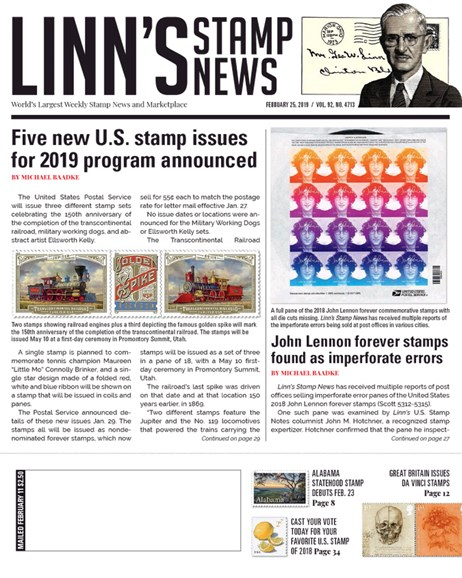 Linn's Stamp News Weekly Cover - 2/25/2019
