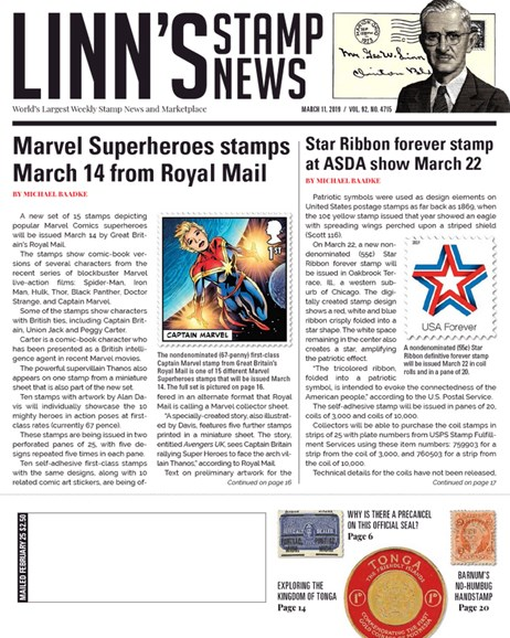 Linn's Stamp News Weekly Cover - 3/11/2019