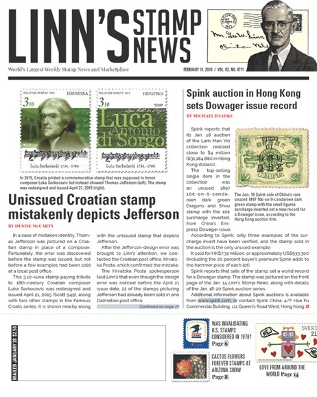 Linn's Stamp News Weekly Cover - 2/11/2019