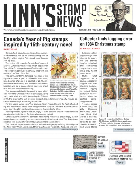 Linn's Stamp News Weekly Cover - 2/4/2019