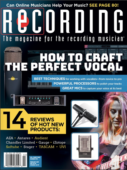 Recording Magazine Cover - 2/1/2019