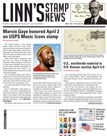 Linn's Stamp News Weekly Cover - 4/1/2019