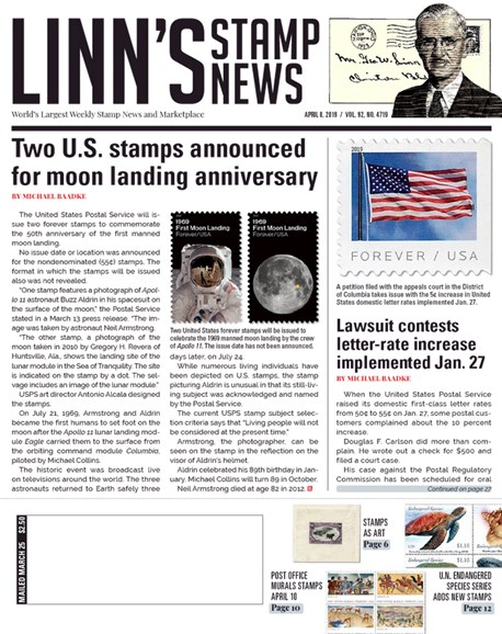 Linn's Stamp News Weekly Cover - 4/8/2019