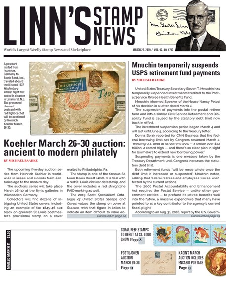 Linn's Stamp News Weekly Cover - 3/25/2019