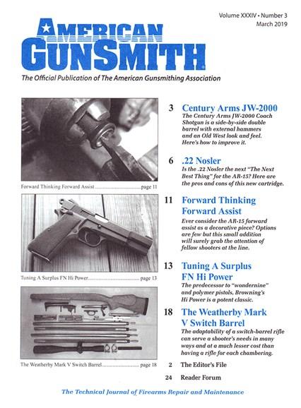 American Gunsmith Cover - 3/1/2019